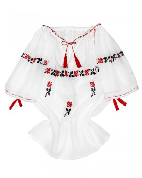 HANDMADE EMBROIDERED BLOUSE FOR GIRLS - Red Roses Motif