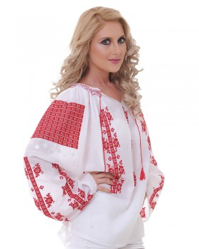TRADITIONAL HANDMADE BLOUSE - Red Rose Motif
