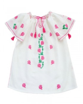 HANDMADE EMBROIDERED BLOUSE FOR GIRLS - Spring Roses Motif