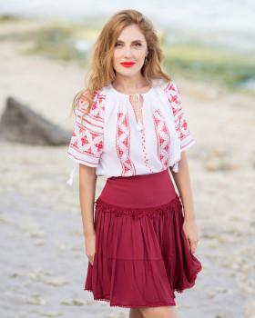 IE TRADITIONALA ROMANEASCA - Motivul Anemona Rosie de Matase