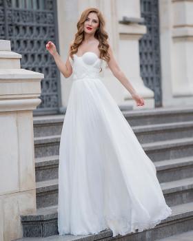 Rochie de mireasa din voal de matase naturala cu corset si fronseuri