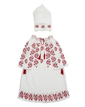 COSTUM TRADITIONAL DE BOTEZ FETITE - Motivul Bobocei de Trandafir