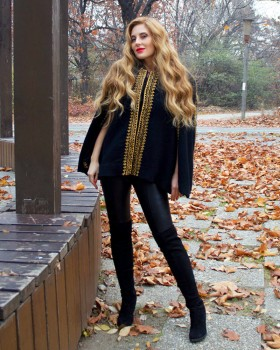 EMBROIDERED BLACK WOOL CAPE - Gold Motif