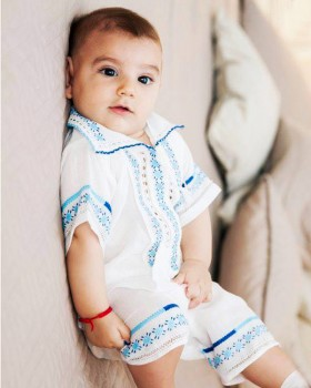 HANDMADE EMBROIDERED CHRISTENING OUTFIT - Blue Flower Motif
