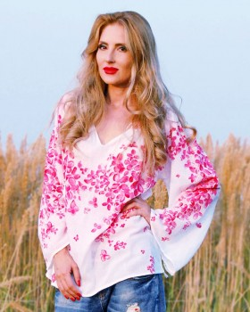 HAND PAINTED BLOUSE - Cherry Blossoms