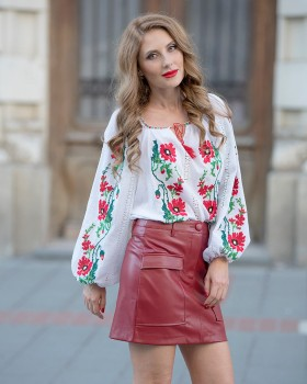 HANDMADE EMBROIDERED BLOUSE - Red Poppy Motif