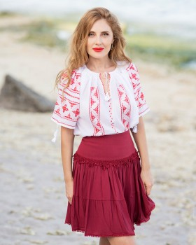 HANDMADE EMBROIDERED BLOUSE - Red Silk Anemone Motif