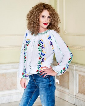 TRADITIONAL HANDMADE BLOUSE - Imperial Lilies Motif