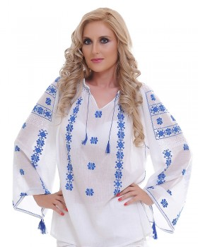 TRADITIONAL HANDMADE BLOUSE - Blue Flower Motif