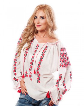 TRADITIONAL HANDMADE BLOUSE - Wild Carnation Motif