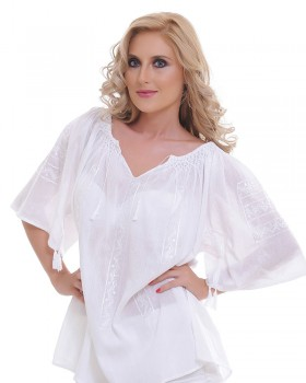 TRADITIONAL HANDMADE BLOUSE - White Ice Motif
