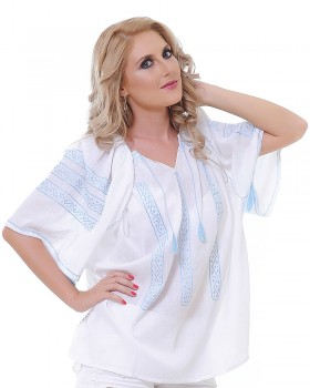TRADITIONAL HANDMADE BLOUSE - Blue Ice Motif