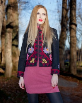 EMBROIDERED WOOL JACKET - Lucky Charm Motif