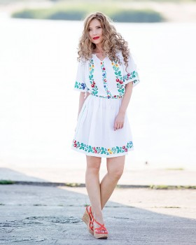 HANDMADE EMBROIDERED DRESS - Field of Wildflowers Motif