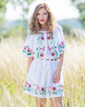 HANDMADE EMBROIDERED DRESS - Poppy Flowers Motif