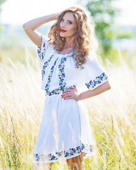 HANDMADE EMBROIDERED DRESS - Wild Pansies Motif