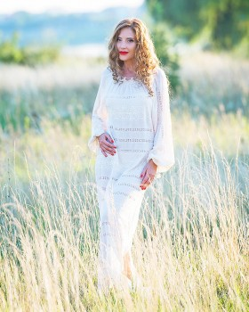 HAND EMBROIDERED BRIDAL GOWN - Sandy silk and lace