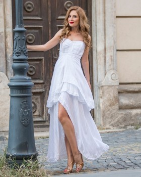 Long flared white cotton and lace cocktail dress