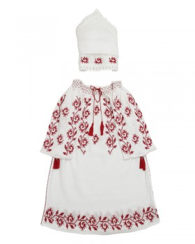 HANDMADE EMBROIDERED CHRISTENING GOWN - Rosebud Motif