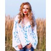 HAND PAINTED BLOUSE - Blue Cornflwers